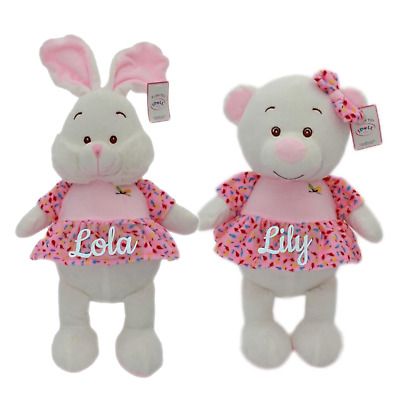 Personalised bunny teddy bear dress new baby shower christening gift girl pink