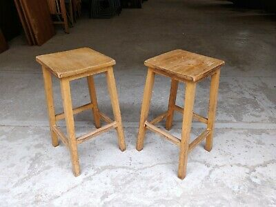 Pair of Vintage Wooden School Lab Stools - Solid Beech - Cafe Bar Restaurant 001