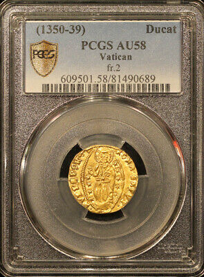 Italy, Vatican Gold Ducat(1350-1439) Fr.2 PCGS AU58 w/luster