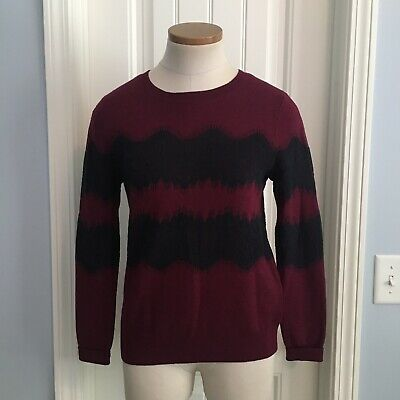 BANANA REPUBLIC Women XS Popover Deep Red Sweater Black LACE Stripes Extra Small