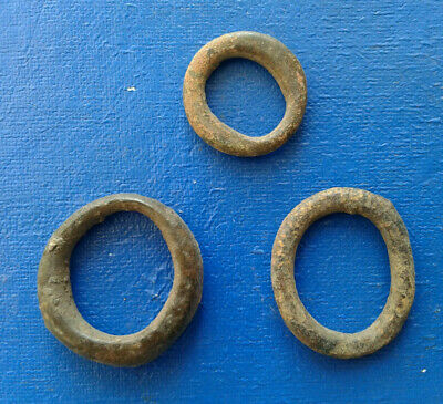 lot of 3 Celtic bronze ring-money, 5th-1st cent BC.