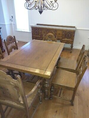 Vintage Ornate Carved JACOBEAN STYLE  Dining Room Set Table (6) Chairs & Buffet