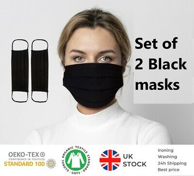 Black Mask 2 Pack  Best Price & Quality 100%Cotton Reusable Mouth Face Mask