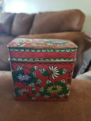Vintage Cloisonné Set Cigarette Box  Holder Red Floral