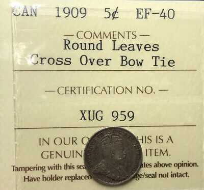 Canada 1909 Silver 5 Cents Round Leaves Cross Over Bow Tie ICCS EF40