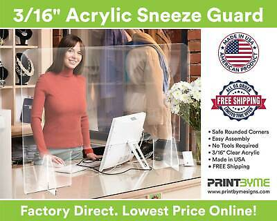 Sneeze Guard, Clear Acrylic, Plexiglass Barrier Shield Nail Salon, Retail Store