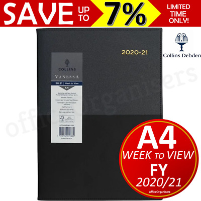 NEW Collins Vanessa 2020-2021 Financial Year Diary A4 Week to View Black FY345