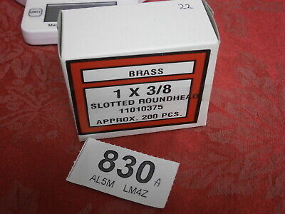 """Box of Brass 1 x 3/8"""" x 200 Slotted Roundhead Wood Screws, clock cabinet spares"""