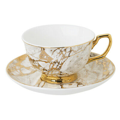NEW Cristina Re Crystalline Teacup and Saucer White Celestite