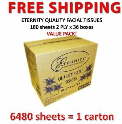 36 boxes x ETERNITY QUALITY FACIAL TISSUES  2 PLY, 180 sheets/box (1ctn) VALUE