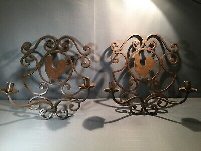 PAIR Antique French Country Rooster Chicken Wrought Iron Wall Candle Sconces