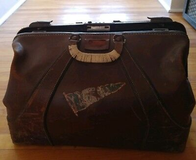 Large Antique Brown Leather Doctors Bag Eveleigh Baggage Distressed
