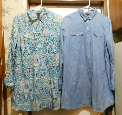 Lot of (2) BIT & BRIDLE Pull On LS 1/4 Button Top SHIRT DRESSES size Large