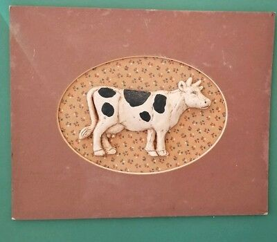 Hunting Creek Crafts Sculptured Cow Country Scene - RARE - VGUC - 8x10 inches