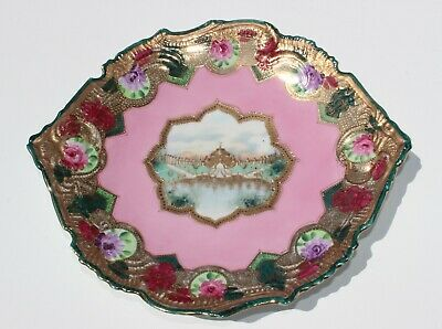 Antique French Hand painted Pink Porcelain Plate Flowers Architectural Landmark