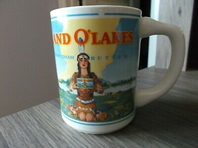 TRUE VINTAGE USA MADE Land O'Lakes Sweet Cream Butter Cup / Mug, Maiden logo!