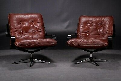 VINTAGE RETRO DANISH  COGNAC LEATHER LOUNGE CHAIR SET 1960's