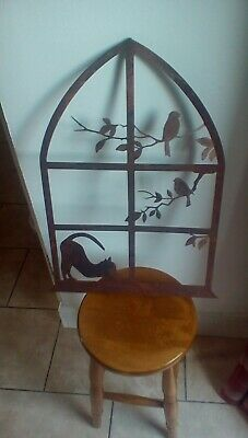 cast iron frame picture cat and birds