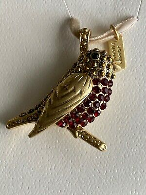 Joanna Buchanan Red Rhinestone Gold Tone Red Robin Bird Ornament New
