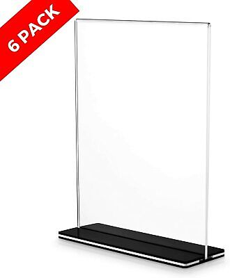 Acrylic Sign Holder w/Stand-Self-Standing Double-Sided T-Shape Display-6 Pack