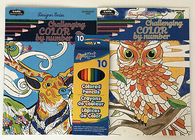 New! Lot Of 2 Adult Color By Number Books Nature Animals + Colored Pencils