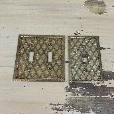 LIGHT-SWITCH COVERS - 2 Vtg Mid-Century Gold Crossed Lattice Single & Double