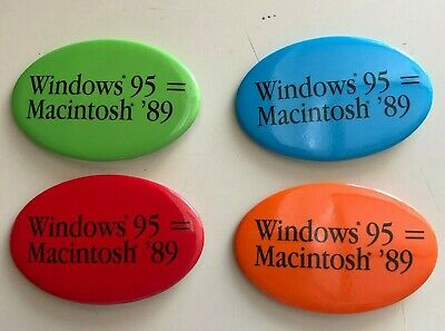 """Apple Computers Lot Of Four Vintage Pins Buttons Windows '95 = Macintosh """"89"""