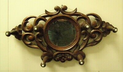 ANTIQUE CARVED wooden Victorian HAT COAT RACK with Antique Mirror