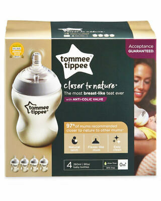 Tommee Tippee Closer to Nature Bottles 4 x 260ml Anti-Colic 0m+ Baby Bottles
