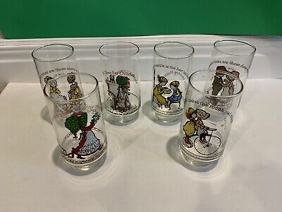 Vintage Holly Hobbie Collectible Drinking Glasses 1970's Set Of Six