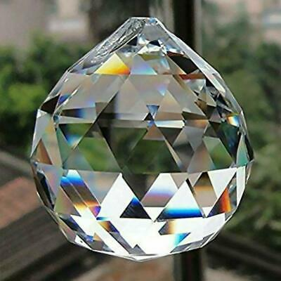 "FACETED CRYSTAL SPHERE 1.25"" 30mm Clear Feng Shui Rainbow Sun Catcher Prism Ball"