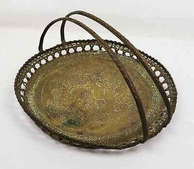 Antique Chinese Woven Brass Basket Handled Tray Dragon Clouds Embossed