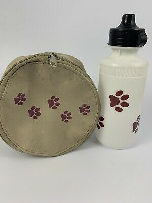 Paw print dog cat water bottle And Matching bag