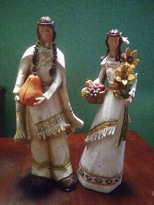 "2 Hobby Lobby 2010 Thanksgiving Native American Couple Figurines 12"" tall"