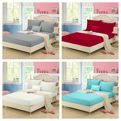 Clearance Solid Ultra SOFT Sheet Set King Queen Size Bedding Set New AU