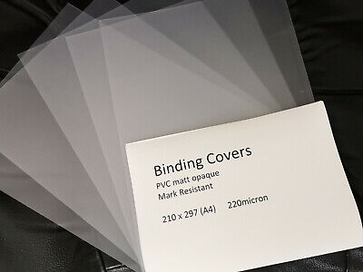 plastic binding covers opaque A4 220mic 25 sheets new