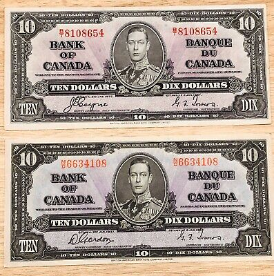 Lot of 2 1937 $10 Bank of Canada Bank Notes B/T and N/D
