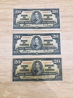 Lot of 3 1937 $20 Bank of Canada Bank Notes Coyne and Towers K/E and J/E