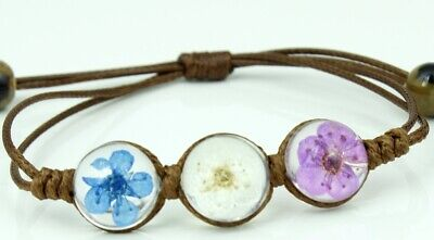Women Handmade White Blue Real Dried Flower Brown Waxed Rope Bracelet One Size