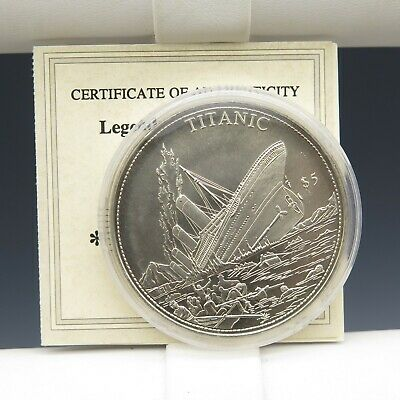 2000 Titanic $5 Proof Coin COA Liberia Legends of the Ocean
