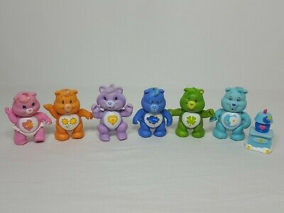 Vintage 1980's Care Bears PVC Poseable Figures Kenner Lot of 6 Bright Heart