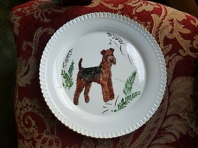 Gorgeous Airedale Terrier Dog Plate Hand Painted by Sylvia Smith Fine Porcelain