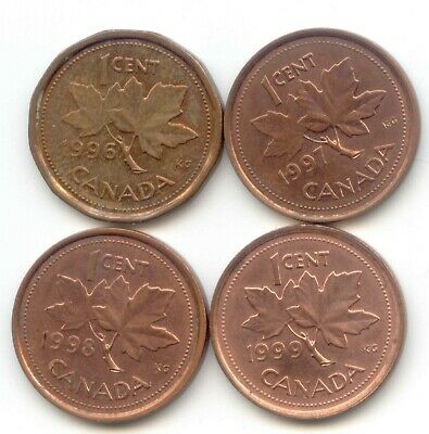 Canada 1996 1997 1998 1999 Pennies Canadian 1 Cent 1c EXACT SET SHOWN