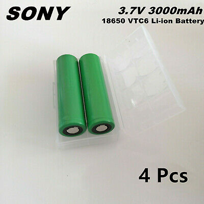 4x US18650 SONY 18650 VTC6 3000MAH 30A High Drain Battery with Free Case