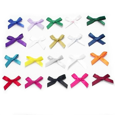 Small 3cm Wide Pre-Tied Bows (7mm Satin Ribbon) Crafts Wedding Plain And Doted