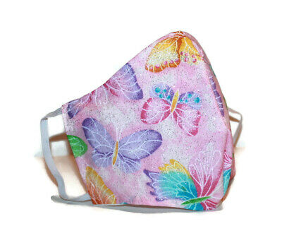 Adult Face Mask Pink Glitter Sparkling Butterfly Nose Wire Cotton Handmade USA