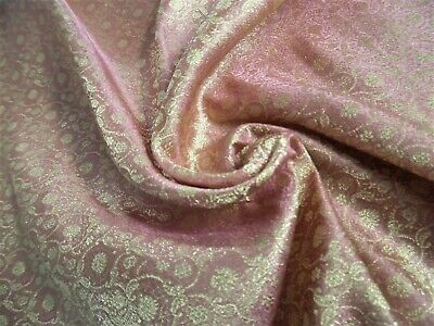 "100% SILK JACQUARD BROCADE~ANTIQUE ROSE/GOLD/PEARL~9""x22""~DOLL FABRIC"
