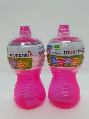 2 Munchkin Mighty Grip 10 oz Spill Leak Proof Cups Soft Silicone Spout Pink