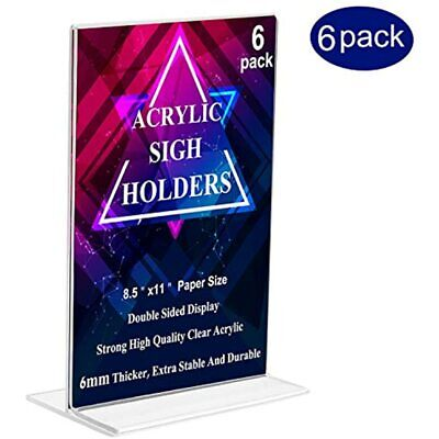 MeetU 8.5 X 11 Acrylic Sign Holders 6 Pack-Letter Size Ad Transparent Strong Tag