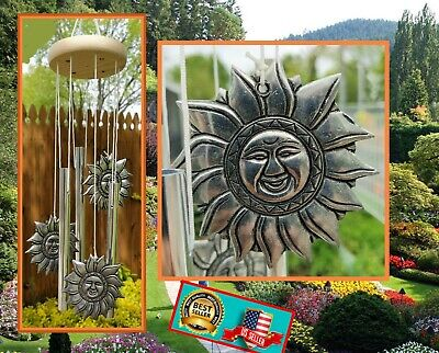"""SUN WIND CHIME LONG LASTING PEWTER METAL Overall Length.14.5"""", NEW"""